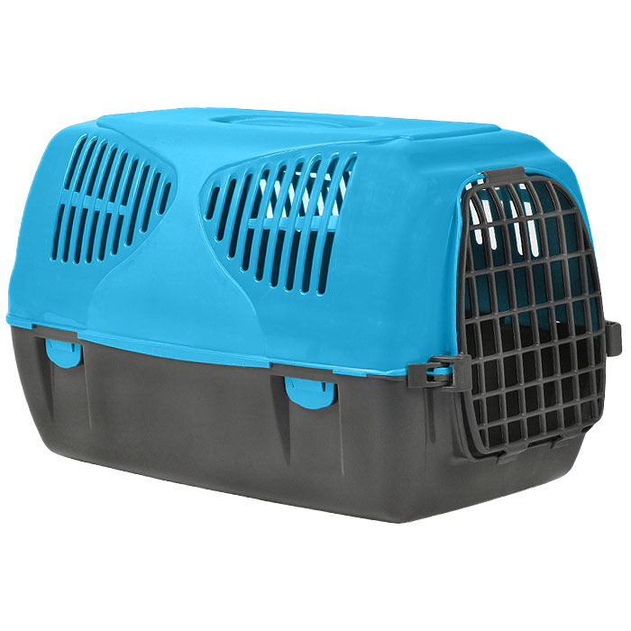 Переноска для животных MPS  Sirio Big , цвет: серый, голубой, 64 см х 39 см х 39 см - Переноски, товары для транспортировки