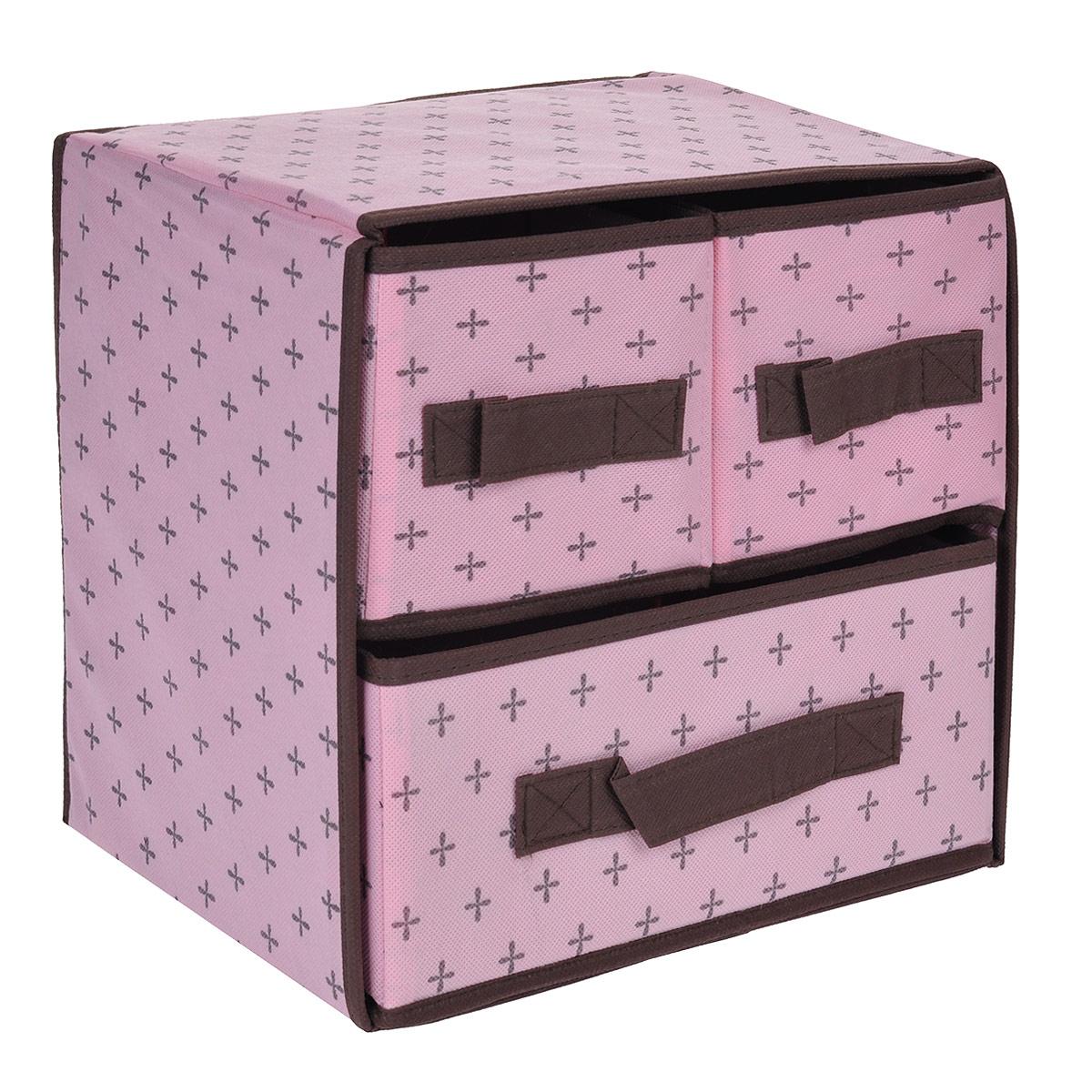 Кофр для хранения FS-6103, цвет: розовый, 29 х 23 х 28 смFS-6103Кофр для хранения с тремя отделениями FS-6103 изготовлен из высококачественного нетканого материала, который позволяет сохранять естественную вентиляцию, а воздуху свободно проникать внутрь, не пропуская пыль. Благодаря специальным вставкам, кофр прекрасно держит форму, а эстетичный дизайн гармонично смотрится в любом интерьере. Мобильность конструкции обеспечивает складывание и раскладывание одним движением.Такой кофр сэкономит место и сохранит порядок в доме. Характеристики:Материал: нетканый материал. Цвет: розовый. Размер кофра (Ш х Д х В): 29 см х 23 см х 28 см.