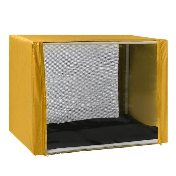 Клетка для кошек Заря-Плюс, выставочная, разборная, цвет: желтый, 90 см х 70 см х 70 см. КВР2КВР2жВыставочная клетка-палатка Заря-Плюс - отличный выбор для участия на любой российской или международной кошачьей выставке.Данная модель выставочной клетки обладает многочисленными преимуществами: - клетка выполнена из высококачественного материала - ПВХ; - клетка разборная, в комплект входит сборный каркас из пластиковых труб вместе с соединительными уголками; - боковые стороны клетки закрытые; - лицевая сторона клетки выполнена из пленки, которая пристегивается с помощью молнии; - обратная сторона клетки выполнена из сетки, которая также пристегивается с помощью молнии; - в сложенном виде клетка довольно компактна, при хранении занимает мало места; - клетка переносится в чехле, который входит в комплект; - для удобной переноски чехол имеет короткую и длинную ручки, также на чехле имеется 2 больших кармана на молнии; - в комплект входит матрац со съемным чехлом на молнии, при необходимости он легко снимается для стирки.