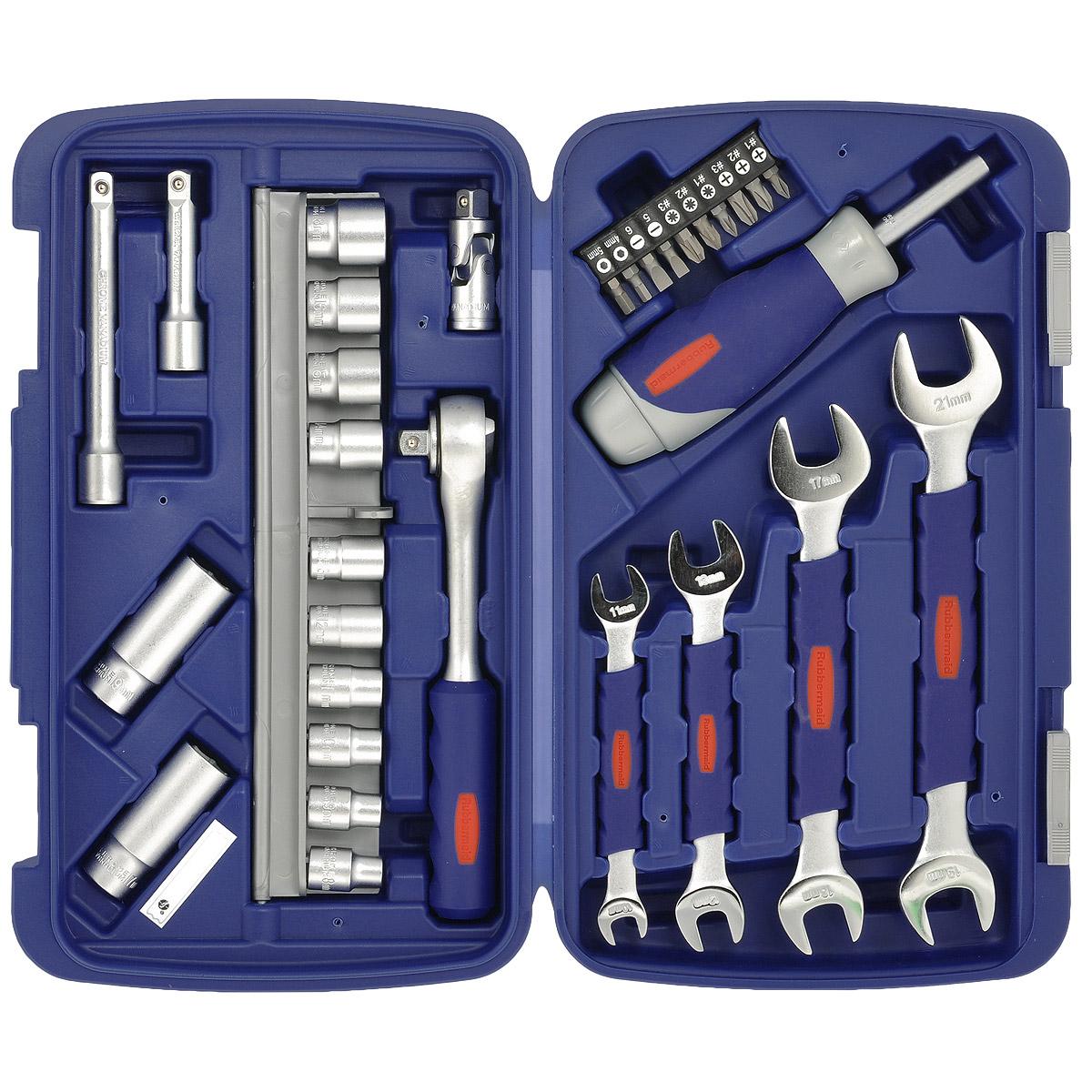 Набор инструментов RUBBERMAID, 31 предмет10504617Набор головок с трещоткой RUBBERMAID предназначен для монтажа и демонтажа резьбовых соединений. Наборподойдет как профессиональному механику, так и простому автолюбителю. Он поможет справиться с практическилюбым крепежом. Это необходимый предмет станет незаменимым в вашем хозяйстве. В состав набора входит: головки торцевые: 8 мм, 9 мм, 10 мм, 11 мм, 12 мм, 13 мм, 14 мм, 15 мм, 16 мм, 17 мм, 18 см, 19 мм; трещотка; удлинитель: 76 мм, 127 мм; ключи рожковые: 10 мм х 11 мм, 12 мм х 13 мм, 16 мм х 17 мм, 19 мм х 21 мм; вороток отвертка; биты крестовые: PZ1, PZ2, PZ3, PH1, PH2, PH3; биты плоские: 5 мм, 6 мм; биты шестигранные: 4 мм, 5 мм; кейс.