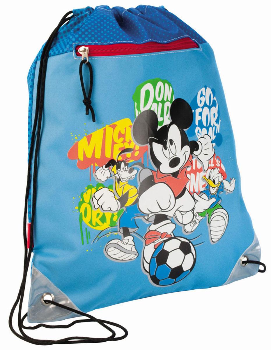 Сумка для сменной обуви Disney Mickey, цвет: голубой32702Сумку Disney Mickey удобно использовать как для хранения, так и для переноски сменной обуви. Сумка выполнена из прочного полиэстера голубого цвета и оформлена принтом с изображением персонажей мультфильма Disney. На лицевой стороне расположен прорезной карман, закрывающийся на застежку-молнию.Сумка затягивается сверху при помощи текстильных шнурков. Шнурки фиксируются в нижней части сумки, благодаря чему ее можно носить за спиной как рюкзак. Светоотражающие вставки на сумке не оставят вашего ребенка незамеченным в темное время суток.