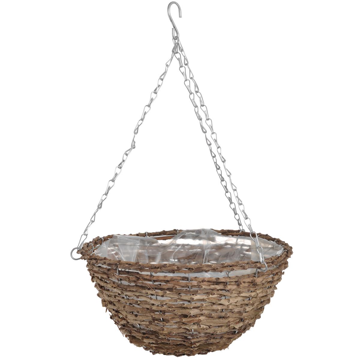 Корзина подвесная для цветов Gardman, диаметр 35 см. 0203502035Подвесная плетеная корзина Gardman изготовлена из рустика. Каркас выполнен из металла. Корзина уже оснащена специальной пленкой и полностью готова для посадки растений. Прекрасно подходит для цветов. Подвешивается с помощью специальной тройной металлической цепи с крючком.Кашпо часто становятся последним штрихом, который совершенно изменяет интерьер помещения или ландшафтный дизайн сада. Благодаря такому кашпо вы сможете украсить вашу комнату, офис или сад. Характеристики: Материал: металл, рустик. Диаметр корзины: 35 см. Высота корзины: 16 см. Товары для садоводства от Gardman - это вещи, сделанные с любовью, с истинно английской практичностью, основанной на глубоких традициях садоводства Великобритании. Эти товары широко известны садоводам Европы, США, Канады и Японии. Демократичные цены и продуманный ассортимент Gardman завоевал признательность и российского покупателя, достойного хороших, качественных вещей. В ассортименте Gardman есть практически все, что нужно современному садоводу - от совочка для рассады до предметов декора и ландшафтного дизайна.