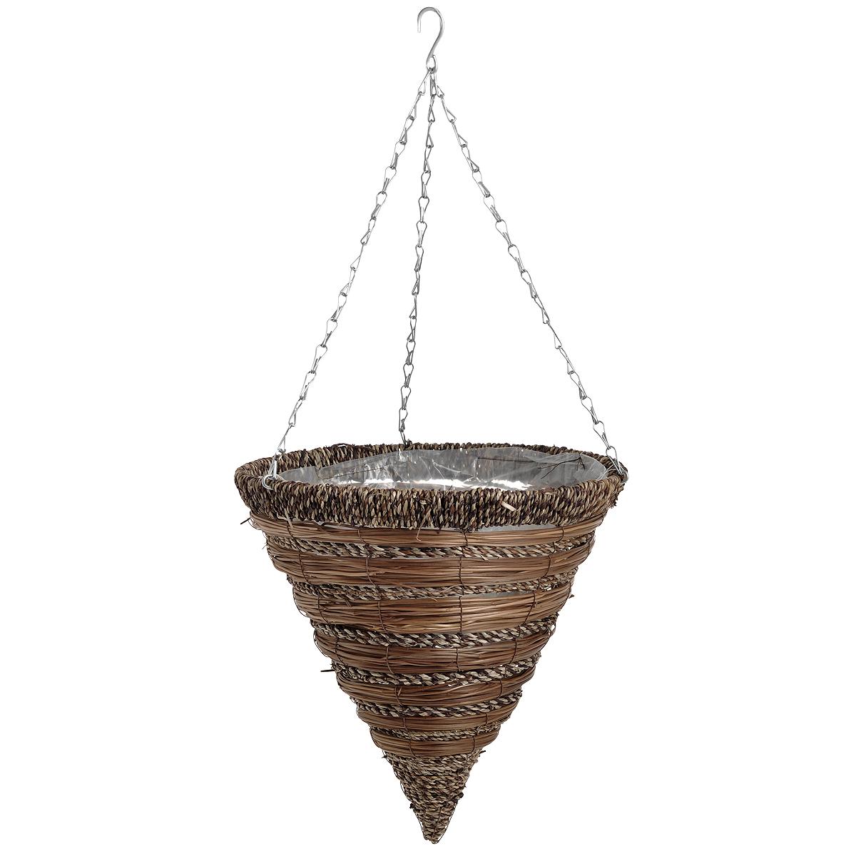 """Подвесная плетеная корзина """"Gardman"""" в форме конуса изготовлена из сизаля. Каркас выполнен из металла. Корзина уже оснащена специальной пленкой и полностью готова для посадки растений. Прекрасно подходит для цветов. Подвешивается с помощью специальной тройной металлической цепи с крючком.Кашпо часто становятся последним штрихом, который совершенно изменяет интерьер помещения или ландшафтный дизайн сада. Благодаря такому кашпо вы сможете украсить вашу комнату, офис или сад. Характеристики: Материал: металл, сизаль. Диаметр корзины: 35 см. Высота корзины: 36 см. Товары для садоводства от Gardman - это вещи, сделанные с любовью, с истинно английской практичностью, основанной на глубоких традициях садоводства Великобритании. Эти товары широко известны садоводам Европы, США, Канады и Японии. Демократичные цены и продуманный ассортимент Gardman завоевал признательность и российского покупателя, достойного хороших, качественных вещей. В ассортименте Gardman есть практически все, что нужно современному садоводу - от совочка для рассады до предметов декора и ландшафтного дизайна."""