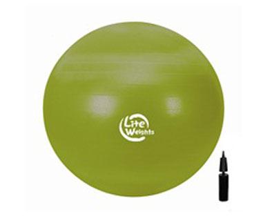 Мяч гимнастический Lite Weights, цвет: зеленый, диаметр 65 см1866LWМяч гимнастический Lite Weights является универсальным тренажером для всех групп мышц, помогает развить гибкость, исправить осанку, снимает чувство усталости в спине. Незаменим на занятиях фитнесом и лечебной физкультурой. Главная функция мяча - снять нагрузку с позвоночника и разгрузить суставы. Снабжен системой Антивзрыв - специальная технология, предупреждающая мяч от разрыва при сильной нагрузке. Нагрузка на мяч до 100 кг.Поставляется в сдутом виде в комплекте с ручным насосом.