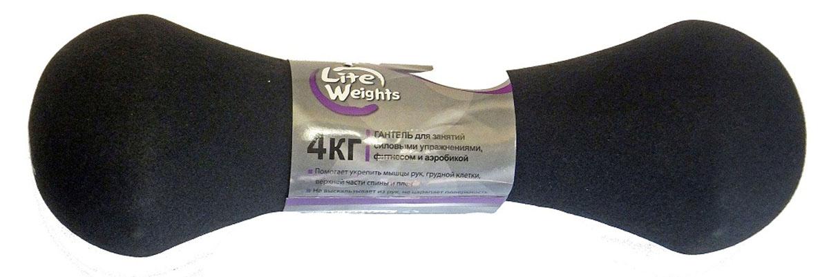 Гантель неопреновая Lite Weights, цвет: черный, 4 кг