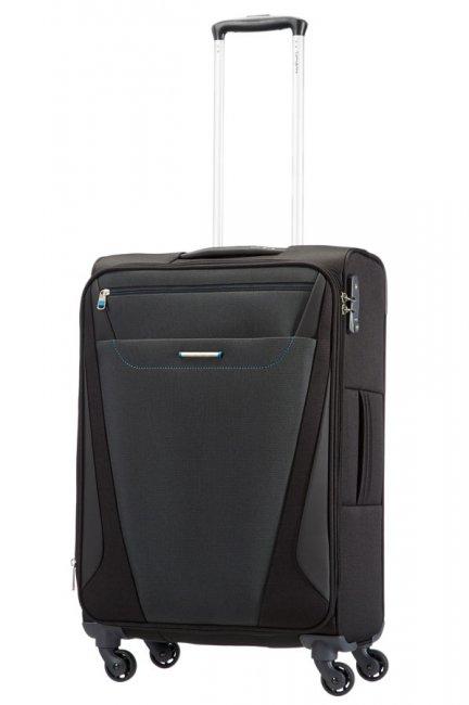 Чемодан Samsonite All Direxions, 38,5 л. 25V-09002, черный25V-09002Универсальный дизайн чемодана All Direxions придется по вкусу как мужской, так и женской аудитории - он специально разрабатывался для шоппинг-туров и любителей разнообразных сувениров, привозимых из путешествий. Вместительный чемодан на четырех колесах содержит внешние карманы для документов и продуманную внутреннюю организацию, включающую ремни, которые предохраняют одежду от сминания. Чемодан оснащен биркой для маркировки при международных перелетах и замком безопасности TSA, который исключает возможность взлома при досмотре во время путешествий. Отверстие в кодовом замке предназначено для работников таможни (открытие багажа для досмотра без присутствия хозяина). Ключ находится только у таможни. Выдвижная ручка обеспечивает хорошую устойчивость и может быть отрегулирована под рост каждого пользователя.Внутри чемодан состоит из одного главного отделения с перекрещивающимися багажными ремнями, соединяющимися при помощи пластикового карабина, сбоку отделения имеется вшитый карман на застежке молнии. На крышке, с внутренней стороны, предусмотрен большой сетчатый карман на молнии. Снаружи на лицевой стороне крышки имеются большой карман на молнии. Сверху предусмотрен один узкий кармашек для билетов и документов. Сбоку чемодана есть убирающая пластиковая бирка для наклеивания адреса и Ф.И.О. владельца.Чемодан оснащен выдвижной ручкой фиксирующейся в двух положениях и четырьмя вращающимися пластиковыми колесами, которые обеспечивают легкость перемещения в любом направлении. Также сверху, сбоку и на днище предусмотрены ручки, для поднятия чемодана.Как выбрать чемодан. Статья OZON Гид
