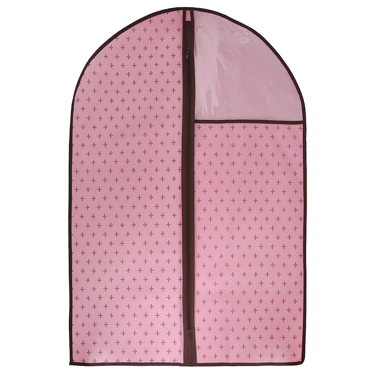 Чехол для одежды, цвет: розовый, 60 х 90 смFS-6502S-WЧехол для одежды изготовлен из высококачественного нетканого материала. Особое строение полотна создает естественную вентиляцию: материал дышит и позволяет воздуху свободно проникать внутрь чехла, не пропуская пыль. Благодаря форме чехла, одежда не мнется даже при длительном хранении. Застегивается на молнию. Окошко из пластика позволяет видеть, какие вещи находятся внутри. Чехол для одежды будет очень полезен при транспортировке вещей на близкие и дальние расстояния, при длительном хранении сезонной одежды, а также при ежедневном хранении вещей из деликатных тканей. Чехол для одежды не только защитит ваши вещи от пыли и влаги, но и поможет доставить одежду на любое мероприятие в идеальном состоянии.