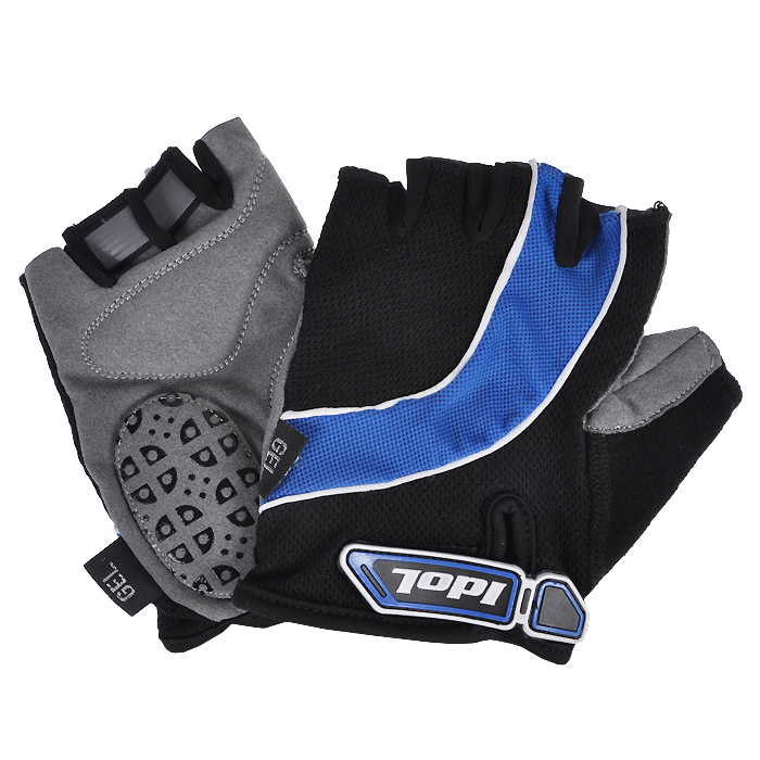 Перчатки велосипедные Idol, цвет: черный, синий. 1530. Размер M1530_черно-синий (m)Велосипедные перчатки без пальцев Idol предназначены для тех, кто занимается велоспортом, велотуризмом или просто катается на велосипеде. Рабочая поверхность велоперчаток выполнена из высококачественной синтетической кожи, а верхняя часть - из лайкры, хорошо отводящей влагу и, благодаря своей упругости, плотно сидящей на руке. На запястье перчатка фиксируется прочной липучкой. Высокое качество, технически совершенные материалы, оригинальный стильный дизайн, функциональность и долговечность выделяют велоперчатки Idol среди прочих.