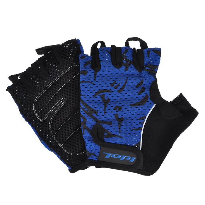 Перчатки велосипедные Idol, цвет: черный, синий. 1592. Размер M велоперчатки idol женские черно синий s