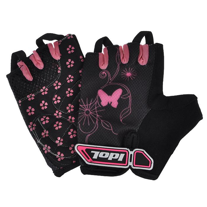 Перчатки велосипедные Idol, цвет: черный, розовый. 878. Размер M велоперчатки idol женские черно синий s