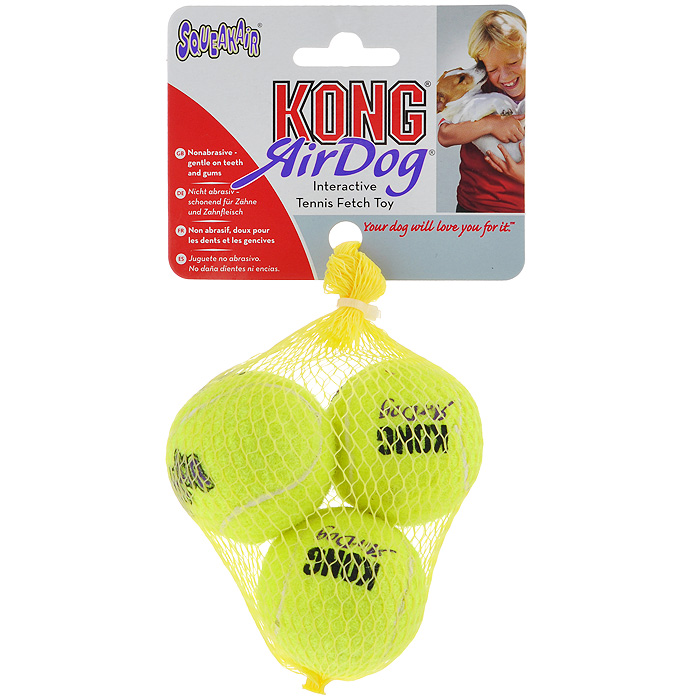 Игрушка для собак Air Теннисный мяч, 3 шт. AST3AST3Игрушка для собак Kong Air Теннисный мяч предназначена для собак мелких пород весом от 1 до 5 кг. Эта игрушка - на 100% настоящий теннисный мяч. Такой мячик имеет непредсказуемую траекторию при отскакивании от земли и может плавать на поверхности воды.В комплекте 3 мяча.