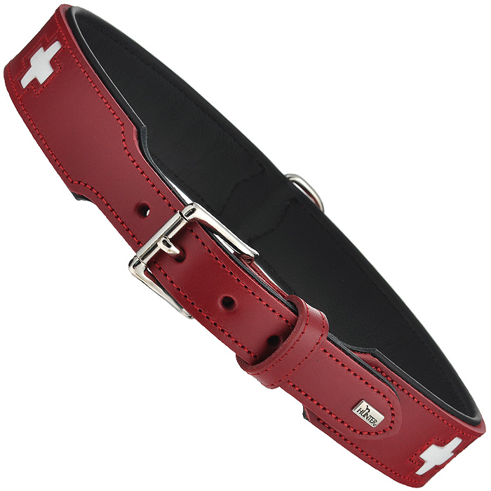 Ошейник для собак Hunter Smart Swiss, цвет: красный, длина 75 см ошейник hunter collar maui vario plus m 36 55cм сетчатый текстиль красный для собак