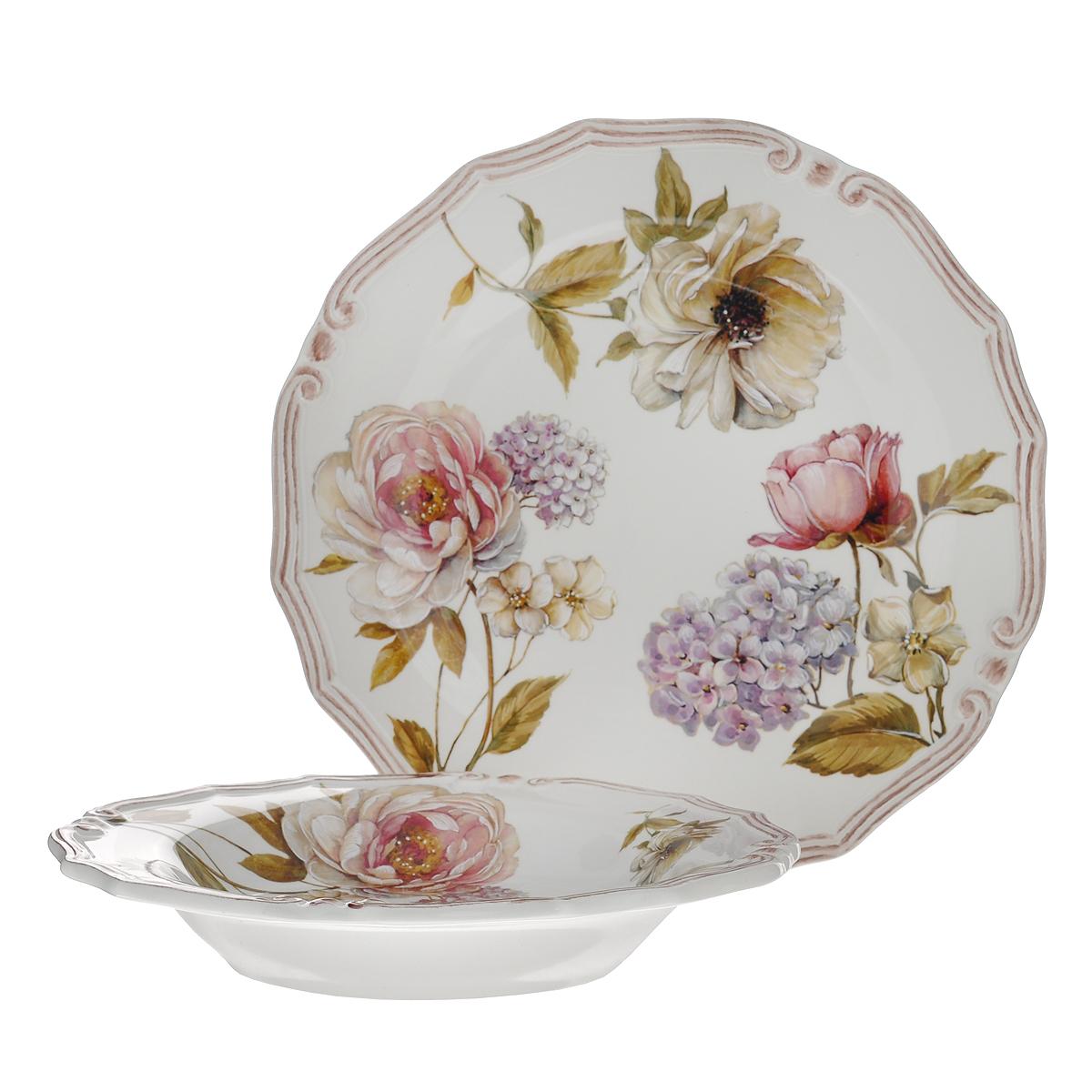 Набор тарелок LCS Сады Флоренции, 2 шт. LCS053-BO-ALLCS053-BO-ALНабор LCS Сады Флоренции состоит из суповой тарелки и обеденной тарелки. Предметы набора выполнены из высококачественной керамики и оформлены нежным цветочным рисунком. Красочность оформления придется по вкусу и ценителям классики, и тем, кто предпочитает утонченность и изящность. Сервировка стола таким набором станет великолепным украшением любого торжества. Характеристики:Материал: керамика. Диаметр суповой тарелки: 24 см. Высота суповой тарелки: 4 см. Диаметр обеденной тарелки: 26 см. LCS - молодая, динамично развивающаяся итальянская компания из Флоренции,производящая разнообразную керамическую посуду и изделия для украшения интерьера. В своих дизайнах LCS использует как классические, так и современные тенденции.Высокий стандарт изделий обеспечивается за счет соединения высоко технологичногопроизводства и использования ручной работы профессиональных дизайнеров ихудожников, работающих на фабрике.