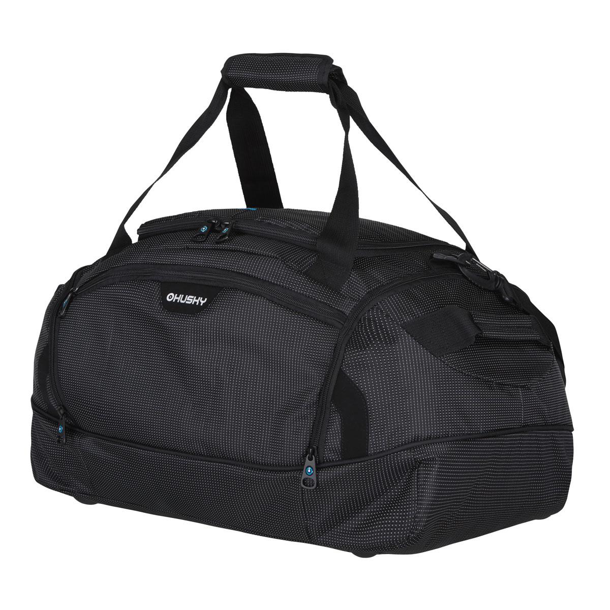 Сумка спортивная Husky Grape 40 L, цвет: черныйУТ-000048763Комфортная и практичная спортивная сумка Grape 40 L.Особенности модели: Водонепроницаемая ткань, Два боковых кармана, Внутренний органайзер, Съемный наплечный ремень.