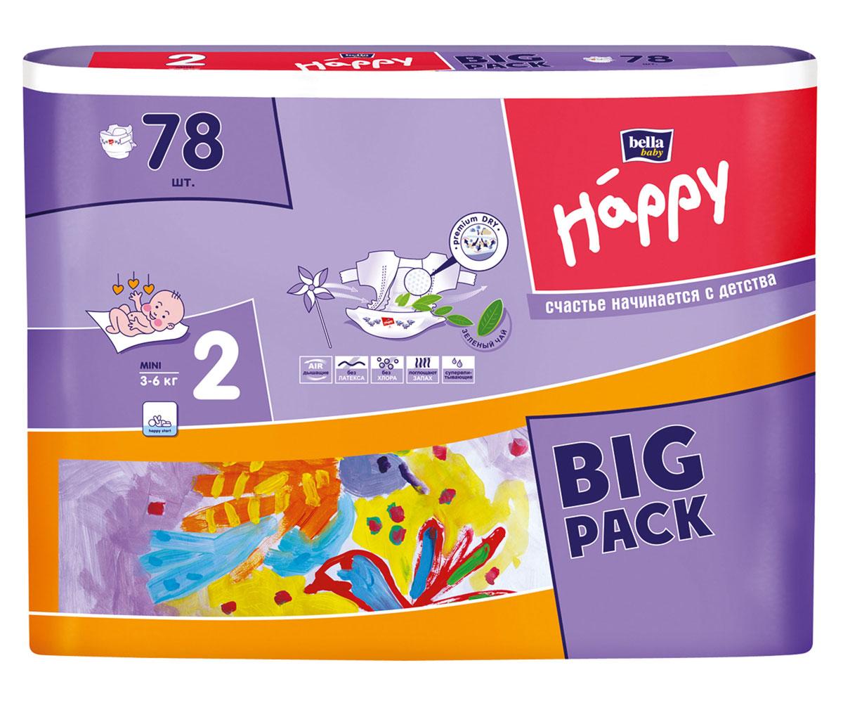 Bella Подгузники для детей Baby Happy, размер Mini 2 (3-6 кг), 78 шт влажные салфетки bella baby happy