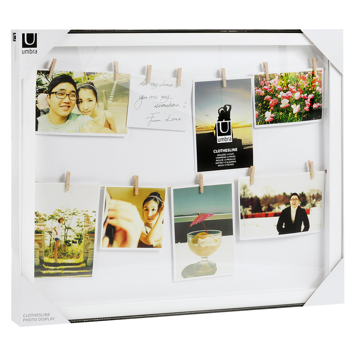 """Рамка """"Clothesline"""" с зажимами для фотографий, цвет: белый, Umbra"""