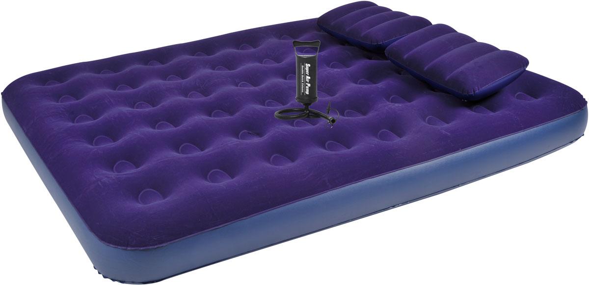 Кровать RELAX QUEEN + 2 надувные подушки + ручной насос, 203 х 152 х 22 см