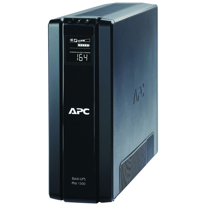 APC BR1500G-RS Back-UPS Pro 1500VA ИБПBR1500G-RSAPC BR1500G-RS - линейно-интерактивный источник бесперебойного питания, обеспечивает стабилизацию напряжения на выходе, при этом частоты на входе и выходе совпадают. Имеет основную розетку с резервным питанием и 3 зависимые от основной розетки, одна с резервным питанием и 2 без резервного питания. Основная розетка определяет, когда подключенный к ней компьютер выключается или переводится в режим ожидания или «спящий» режим и отключает питание неиспользуемых периферийных устройств, подключенных к зависимым розеткам, тем самым сберегая электроэнергию и деньги пользователей.. Может быть использован для защиты электроники в небольших офисах.