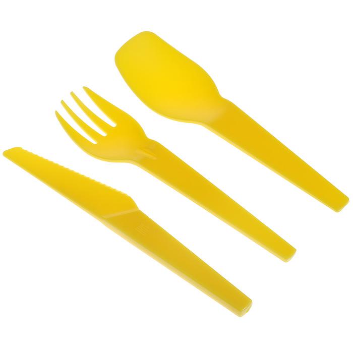 Набор пластиковых столовых приборов Iris Barcelona, цвет: желтый, 3 предмета8413-PYНабор столовых приборов Iris Barcelona состоит из ложки, вилки и ножа. Изделия выполнены из пищевого пластика желтого цвета. Приборы прочные, удобные и практичные. Набор упакован в притягательный прозрачный ПВХ футляр, закрывающийся на кнопку. Приборы всегда будут в чистоте и компактно сложены. Такой набор пригодится где угодно: его можно взять с собой на работу, учебу, прогулку или в поездку. Компактный размер не займет много места в сумке или багаже.Характеристики: Материал: пластик. Цвет: желтый. Длина ложки/вилки: 14,5 см. Длина ножа: 15 см. Размер футляра: 5,5 см х 16 см х 2 см.