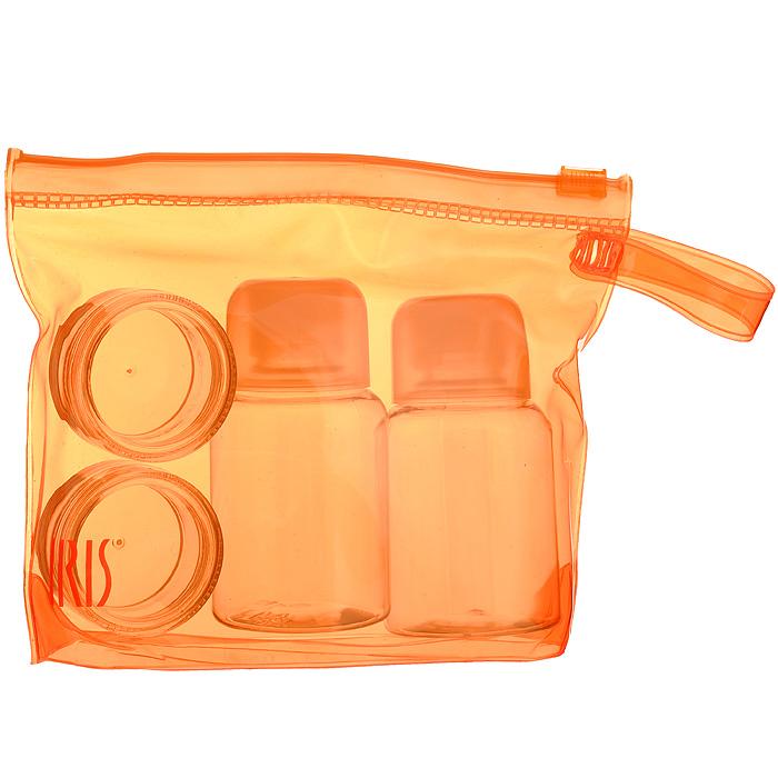 Набор для специй Iris Barcelona, цвет: оранжевый, 5 предметов2986-PNНабор для специй Iris Barcelona состоит из двух круглых контейнеров для специй (например, соли и перца), двух бутылочек для жидкостей (например, уксуса и масла) и сумочки. Изделия оснащены плотно завинчивающимися крышками, что исключает проливание. Набор выполнен из прозрачного пластика. Упакован в прозрачную ПВХ-сумочку оранжевого цвета. Набор для специй Iris Barcelona можно взять с собой куда угодно: на работу, отдых или пикник. Вы везде сможете приправить блюда вашими любимым специями. Характеристики: Материал: пластик. Цвет: оранжевый. Объем контейнера для специй: 10 мл. Размер контейнера для специй (ДхШхВ): 3,7 см х 3,7 см х 2 см. Объем бутылочки для жидкостей: 50 мл. Размер бутылочки для жидкостей (ДхШхВ): 4 см х 4 см х 8 см. Размер сумочки (ДхШхВ): 15 см х 4 см х 11,5 см.