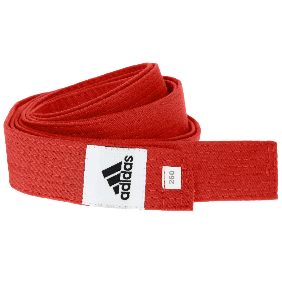 Пояс для единоборств adidas Club, цвет: красный. adiB220. Длина 260 смadiB220Пояс для единоборств adidas Club - универсальный пояс для кимоно. Пояс выполнен из плотного хлопкового материала с прострочкой.Такой пояс - необходимый аксессуар для тех, кто занимается боевыми искусствами.