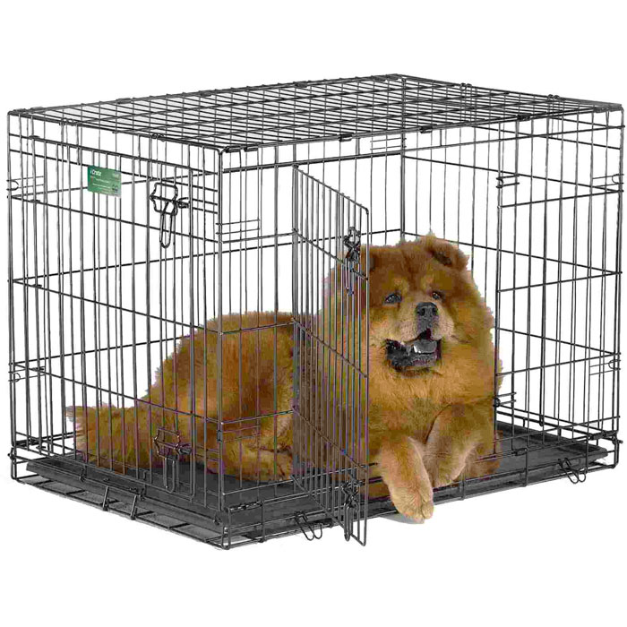 Клетка для собак Midwest iCrate, 2 двери, цвет: черный, 61 см х 46 см х 48 см