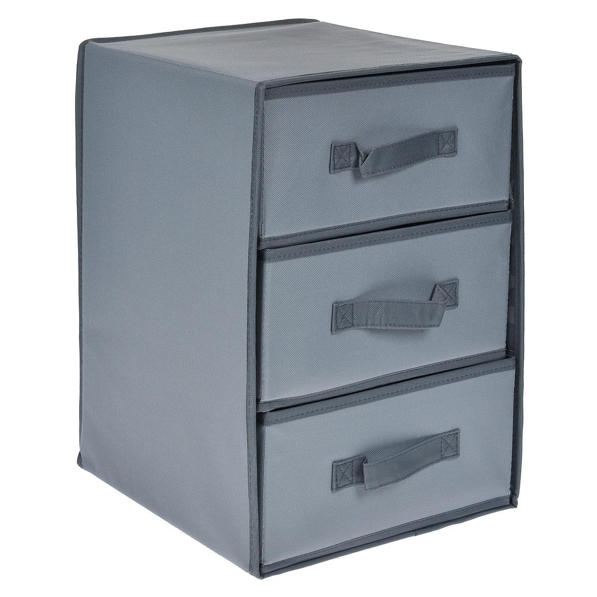 Ящик для хранения FS-6145P, цвет: серый, 3 секции, 30 х 30 х 41,5 смFS-6145PЯщик для хранения FS-6145P изготовлен из высококачественного нетканого материала, который позволяет сохранять естественную вентиляцию, а воздуху свободно проникать внутрь, не пропуская пыль. Материал легок, удобен и не образует складок. Благодаря специальным вставкам, ящик прекрасно держит форму, а эстетичный дизайн гармонично смотрится в любом интерьере. Ящик имеет три выдвижные секции с ручками, в которых удобно хранить белье и другие мелкие вещи.Особая конструкция позволяет при необходимости быстро сложить или разложить ящик. Такой ящик сэкономит место и сохранит порядок в доме. Характеристики:Материал: нетканый материал. Цвет: серый. Размер ящика (ДхШхВ): 30 см х 30 см х 41,5 см.