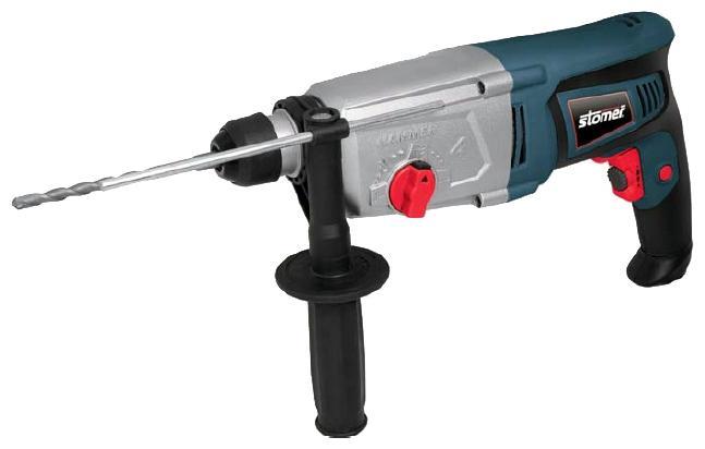 Перфоратор электрический Stomer SRD-850-KSRD-850-KДомашний помощникПроизводитель ручного инструмента Stomer создал модель SRD-850-K для использования как в быту, так и на производстве. Перфоратор предназначен для создания отверстий в металле, в дереве и других твердых материалах. В режиме «сверление с ударом» или «долбление» инструмент способен продолбить отверстие в бетоне, кирпиче, керамике. А если переключиться в режим «завинчивание» инструмент превращается в обычный шуруповерт, которым можно вкручивать саморезы.Отличная производительностьПри относительно не сложных видах работ, а также при эксплуатации инструмента на высоте вам необходим сравнительно легкий и производительный перфоратор. Именно таким является SRD-850-K от производителя Stomer. Весом 3.60 кг, он снабжен мощным двигателем 800 Вт и длинным сетевым кабелем 3.60 м. Модель имеет функцию удара с энергией 2.5 Дж, частотой 4500 уд/мин., что делает его отличным «убийцей» бетона и кирпича.Долбить или сверлитьСамым популярным режимом большинства перфораторов является режим «сверления с ударом», при котором рабочая оснастка получает одновременно оборотные и поступательные движения, таким образом делая отверстие в твердых материалах. В режиме удара («долбление») оборотные движения рабочего элемента отсутствуют, остаются только ударные, и наш перфоратор превращается в отбойный молоток, способный разрушать кирпич, камень и монолитные стены.SDS-патронУниверсальный патрон SDS-Plus позволяет закрепить зубило (и другие насадки) в разных положениях и обеспечивает удобную работу в труднодоступных местах.Диаметры сверленияДля надежной долговечной работы инструмента всегда необходимо знать максимальные рекомендуемые диаметры сверления определенных типов материалов, для SRD-850-K это: по дереву – 30 мм, по металлу – 13 мм, по бетону (кирпичу) – 26 мм.Полезные мелочиВ Stomer SRD-850-K предусмотрен ряд дополнительных конструктивных решений для более удобной эксплуатации: ограничитель глубины, дополнительная рукоятка, реве