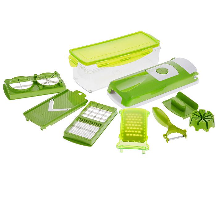 Овощерезка Bradex Salad GourmetTK 0029Овощерезка Bradex Salad Gourmet, выполненная из высококачественного пластика и нержавеющей стали, обладает огромным диапазоном применения и занимает очень мало места на кухне. С помощью этого уникального приспособления вы сможете порезать сырые и вареные овощи и фрукты, на-шинковать лук, натереть морковь и многое другое. В комплект входит: - режущий верхний элемент с решеткой; - режущая нижняя часть (база); - контейнер для хранения с крышкой; - вкладыш-лезвие для нарезания маленькими/средними кубиками; - вкладыш-лезвие для нарезания ломтиками/крупными кубиками; - вкладыш-лезвие для нарезания на четвертинки и клинья; - съемная насадка на лезвия прибора; - частичная защитная насадка на все режущие вкладыши; - насадка-терка (с защитной крышкой); - сплошная насадка для нарезания продуктов ломтиками (с защитной крышкой для лезвия); - устройство для фиксации овощей и фруктов с приспособлением для их проталкивания; - овощечистка.Такая овощерезка непременно пригодится на любой кухне: она компактна, удобна в использовании и легко моется.Все части овощерезки пригодны для мытья в посудомоечной машине.Размер платформы-базы: 28 см х 10,5 см х 5 см.Размер насадки: 16 см х 8 см х 1,5 см.Размер терки: 18 см х 8,5 см.Размер контейнера: 27 см х 10 см х 7,5 см.Объем контейнера: 1,5 л.Размер держателя для продуктов: 9 см х 7 см х 3 см.Длина овощечистки: 15,5 см.