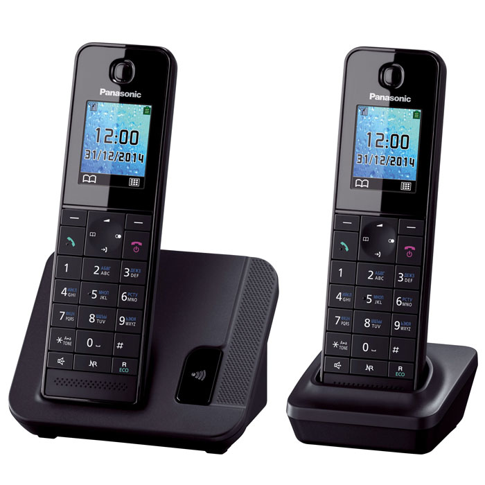 Panasonic KX-TGH212 RUB, Black DECT-телефон panasonic kx tgh222 rub black dect телефон