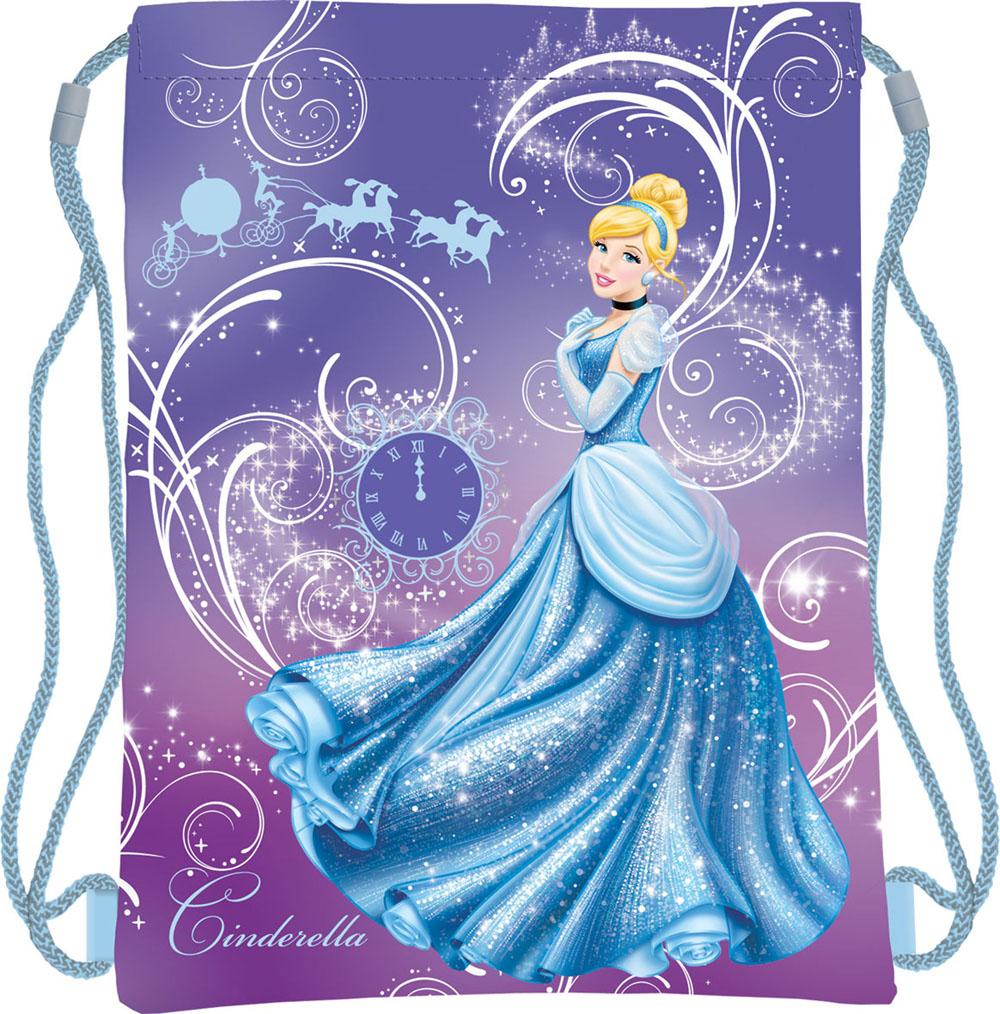 Disney Princess Сумка для сменной обуви Princess Золушка цвет фиолетовыйPRAP-MT1-883Сумку Princess: Золушка удобно использовать как для хранения, так и для переноски сменной обуви. Она выполнена из прочного полиэстера и затягивается сверху текстильными шнурками. Сумка оформлена ярким изображением диснеевской принцессы Золушки. Шнурки фиксируются в нижней части сумки, благодаря чему ее можно носить за спиной как рюкзак.