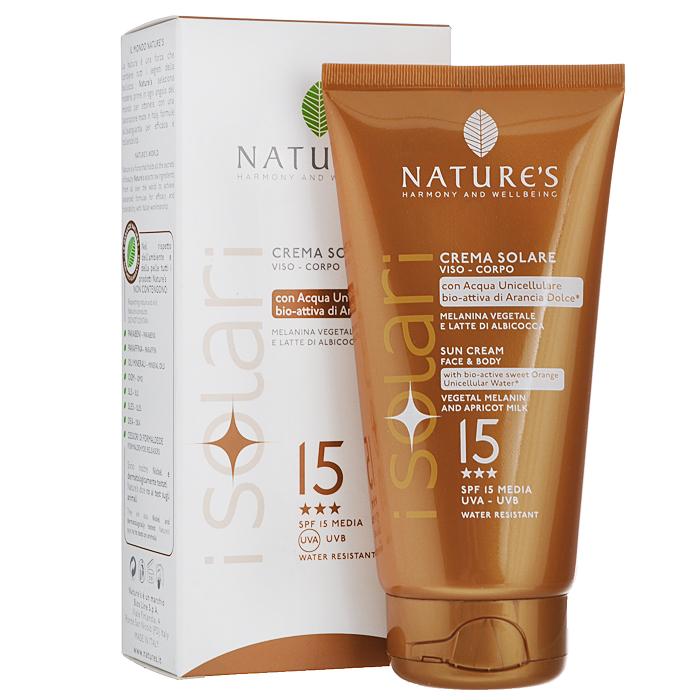 Natures Крем от солнца iSolari, SPF 15, 150 мл60041662Крем от солнца Natures iSolari идеален для уже загорелой кожи или кожи, которая легко воспринимает солнце. Предотвращает появление ожогов, замедляет старение кожи и сохраняет эластичность. Растительный меланин обеспечивает ровный загар, а абрикосовое молочко оказывает интенсивное смягчающее действие. Прошел дерматологические тесты.Способ применения: равномерно нанести на лицо и тело массажными движения до полного впитывания. Наносить несколько раз во время длительного пребывания на солнце. Водостойкий. Характеристики:Объем: 150 мл. Товар сертифицирован.