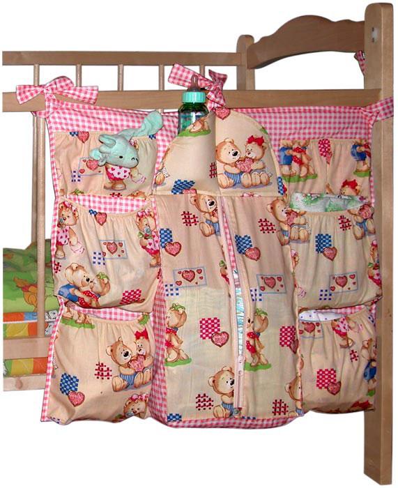 Коврик-шкафчик  Мишутка  на детскую кроватку, цвет: розовый