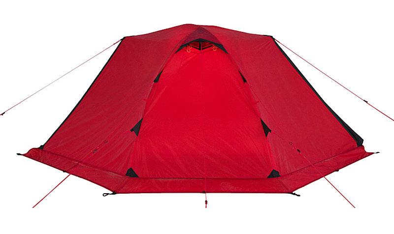 Легкая экспедиционная палатка с двумя тамбурами предназначена для организации высокогорных лагерей, восхождений и эксплуатации в сложных погодных условиях. Обладает высокой ветроустойчивостью, длительное время способна выдерживать сильный дождь и снегопад. Вес: 3,8 кг. Количество мест: 2. Сезонность: зима. Размер: 240 x 215 x 90 см. Размер в чехле: 18 x 52 см. Материал тента: Nylon 30D 250T RipStop Silicon 3000 mm. Материал дна: Polyester 150D Oxford PU 6000 mm. Внутренняя палатка: есть. Материал дуг: Alu 8.5 mm. Ветроустойчивость: очень высокая. Количество входов: 2. Цвет: красный. Область применения: экстрим. Технологии:  Пропитка, задерживающая распространение огня.   Швы герметизированы термоусадочной лентой.   Тент устойчив к ультрафиолету.   Узлы палатки, испытывающие высокие нагрузки, усилены более прочной тканью.   Край тента обшит прочной стропой.   Молнии на внешнем тенте фиксируются алюминиевым крючком.   Эффективная система вентиляции состоит из двух вентиляционных окон с ветровым клапаном, расположенных в верхней точке купола.   Прочный нейлоновый тент с усиленным плетением RipStop и силиконовым покрытием.   Полог (юбка) по периметру палатки защищает от попадания дождя и снега и при загрузке увеличивает устойчивость конструкции.   При необходимости быстро собирается с помощью петель с фиксаторами.   Молнии YKK на внешнем тенте.   Цвет: оранжевый. Материал: Nylon 6.6 30D 250T RipStop Silicon PU, polyester 150D Oxford PU.  Что взять с собой в поход?. Статья OZON Гид