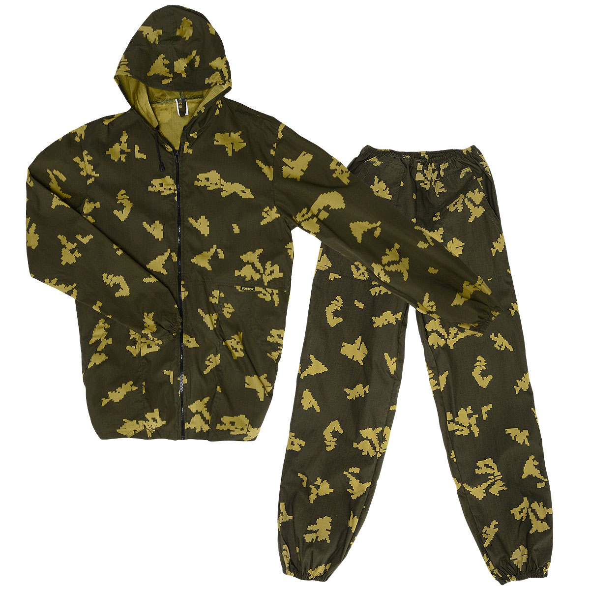 Костюм маскировочный мужской Снайпер, цвет: хаки. VSN-P. Размер 56-58VSN-PКостюм маскировочный мужской Norfin Снайпер, состоящий из куртки и брюк, - отличный костюм для любого отдыха в жаркую погоду, в том числе активного (от +12 до +25°С). Прочный материал благодаря хлопку дышит, а полиэстер дает прочность. Куртка свободного кроя с капюшоном застегивается по всей длине на пластиковую застежку-молнию. Капюшон не отстегивается и дополнен скрытым шнурком. Низ рукавов и низ изделия дополнены внутренней эластичной резинкой. Спереди модель дополнена двумя накладными карманами под планкой. На левом рукаве также предусмотрен накладной карман с клапаном на липучке. Брюки свободного кроя на талии дополнены эластичным поясом со скрытым шнурком. Низ брючин дополнен внутренней резинкой. Спереди предусмотрены два вместительных накладных кармана. Костюм выполнен в маскировочной расцветке «Пограничник».УВАЖАЕМЫЕ КЛИЕНТЫ!Обращаем ваше внимание, что костюм поставляется в двух оттенках цвета хаки. Оба варианта оттенка представлены на фото. Поставка осуществляется в зависимости от наличия на складе.