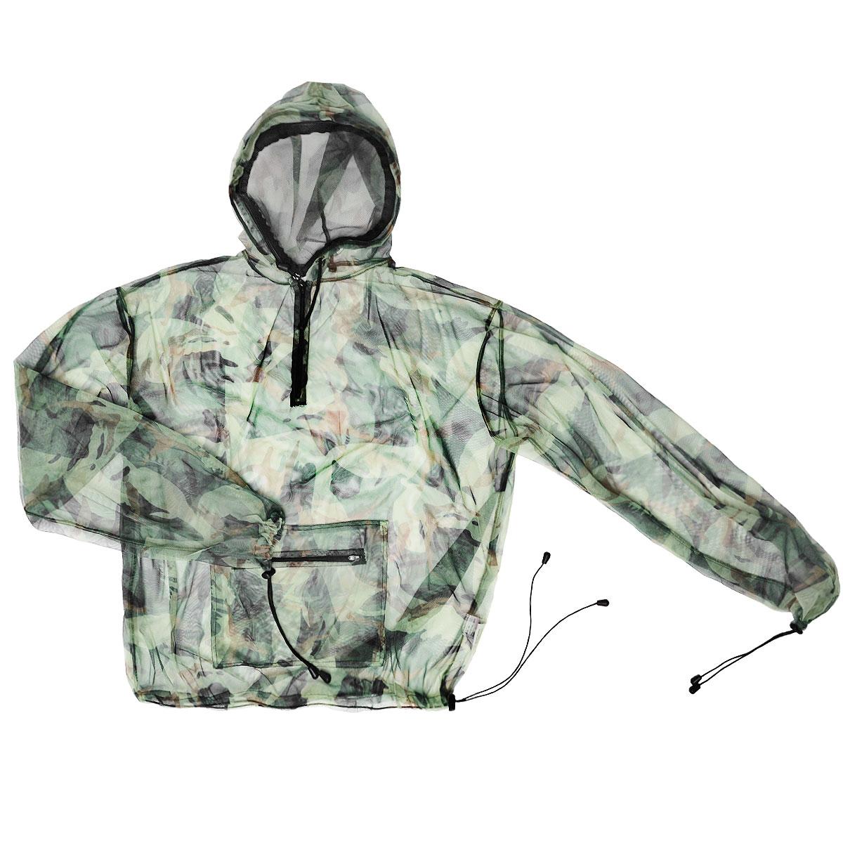 Куртка антимоскитная Norfin, цвет: милитари. 6020. Размер XXL (58/60)6020Антимоскитная куртка защитит тело и лицо от насекомых. Куртка с капюшоном и длинными рукавами, выполненная из легкой сетки, на груди застегивается на застежку-молнию. Манжеты на рукавах и низ изделия затягиваются при помощи эластичных резинок с фиксаторами. Спереди она дополнена вместительным карманом на застежке-молнии. Капюшон оснащен защитой лица, которую при необходимости можно снять.Особенности модели:Защита тела и лица от насекомых Передняя молния Возможность снятия защиты с лица Манжеты на рукавах Нижняя стяжка куртки с фиксатором.