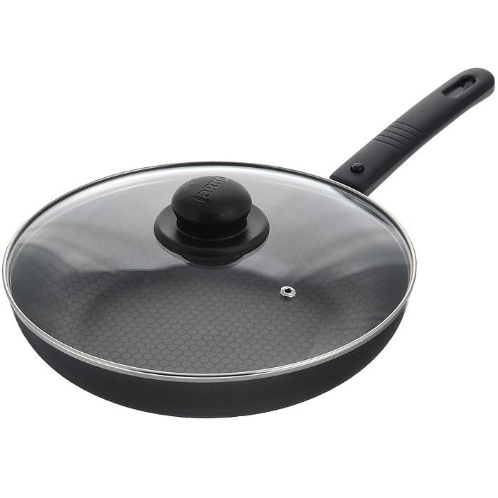 Сковорода Jarko Forever с крышкой, с антипригарным покрытием, со съемной ручкой. Диаметр 26 смJBr1-126-21Сковорода Jarko Forever изготовлена из высококачественного алюминия с внутренним шестислойным антипригарным покрытием Skandia S со специальным слоем соты. Покрытие не оставляет послевкусия, делает возможным приготовление блюд без масла, сохраняет витамины и питательные вещества.Внешнее декоративное покрытие выдерживает высокую температуру. Сковорода оснащена съемной ручкой, выполненной из бакелита черного цвета. Такая ручка не нагревается в процессе готовки и обеспечивает надежный хват.Крышка из термостойкого стекла снабжена металлическим ободом, удобнойбакелитовой ручкой и отверстием для выпуска пара. Такая крышка позволит следить запроцессом приготовления пищи без потери тепла. Она плотно прилегает к краямсковороды,сохраняя аромат блюд.Сковорода пригодна для использования на газовых и электрических плитах. Подходит для чистки в посудомоечной машине. Характеристики:Материал: алюминий, бакелит, стекло, нержавеющая сталь. Внутренний диаметр сковороды: 26 см. Высота стенки сковороды: 5,5 см. Толщина стенки: 2,2 мм. Толщина дна: 2,2 мм. Длина ручки: 17 см. Диаметр диска: 15,5 см.