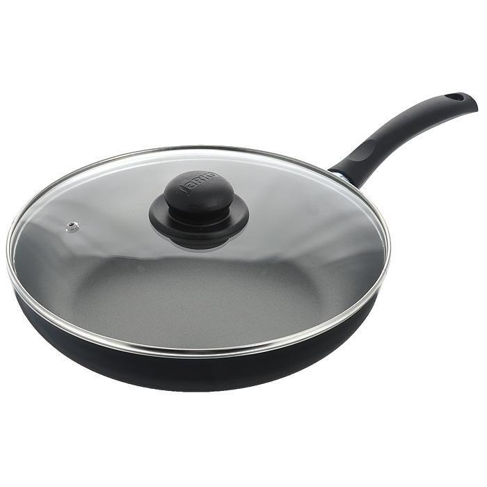 Сковорода Jarko Lite с крышкой, с антипригарным покрытием, цвет: черный. Диаметр 28 смJBIP-128-11Сковорода Jarko Lite изготовлена из высококачественного алюминия с внутренним пятислойным антипригарным покрытием Skandia S. Покрытие не оставляет послевкусия, делает возможным приготовление блюд без масла, сохраняет витамины и питательные вещества.Внешнее декоративное покрытие черного цвета выдерживает высокую температуру. Эргономичная бакелитовая ручка не нагревается в процессе приготовления пищи. Крышка из термостойкого стекла снабжена металлическим ободом, удобнойбакелитовой ручкой и отверстием для выпуска пара. Такая крышка позволит следить запроцессом приготовления пищи без потери тепла. Она плотно прилегает к краямсковороды,сохраняя аромат блюд.Сковорода пригодна для использования на всех типах плит, кроме индукционных. Подходит для чистки в посудомоечной машине. Характеристики:Материал: алюминий, бакелит, стекло, нержавеющая сталь. Цвет: черный. Внутренний диаметр сковороды: 28 см. Высота стенки сковороды: 5,5 см. Толщина стенки: 3 мм. Толщина дна: 3 мм. Длина ручки: 18 см. Диаметр диска: 19 см.