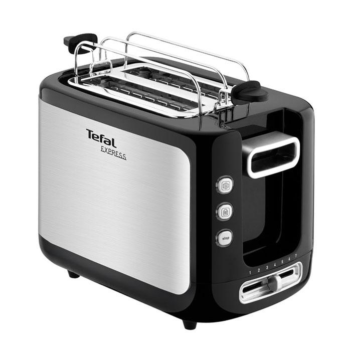 Tefal TT365031 Express Metal тостерTT365031Tefal TT365031 обладает мощностью 850 Вт, имеет 2 слота для приготовления тостов. Благодаря позиционному регулируемому термостату Вы сами можете выбирать степень обжарки хлеба. Помимо стандартной функции поджарки, тостер также сможет разморозить хлеб или подогреть уже готовые тосты.6 позиционный регулируемый термостатВысокий подъем тостовАвтоцентрированиеКлавиша мгновенной остановки приготовленияИндикация работыТермоизолированный корпусПоддон для крошек
