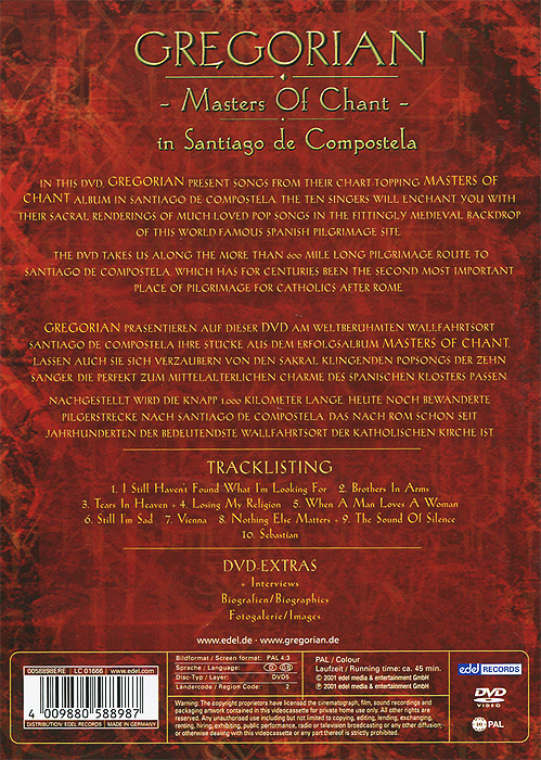Gregorian:  Masters Of Chant In Santiago De Compostela Edel Records