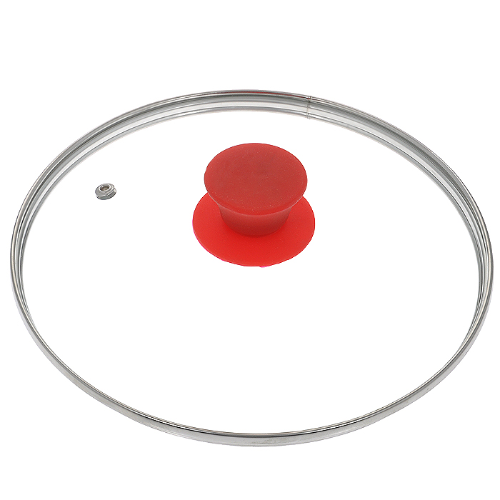 Крышка стеклянная Jarko Silk, цвет: красный. Диаметр 22 см