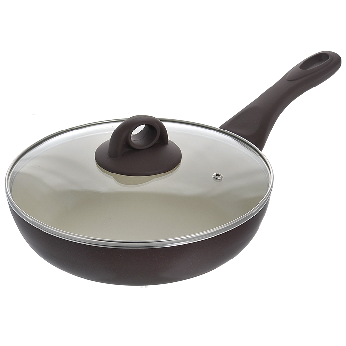 Сковорода глубокая Jarko Dark Chocolate с крышкой, с антипригарным покрытием, цвет: коричневый. Диаметр 24 смJDC-124-21DСковорода Jarko Dark Chocolate изготовлена из высококачественного алюминия сосветлым внутренним антипригарным покрытием нового поколения. Покрытие,позволяющее готовить при высоких температурах (до 240°С), не оставляет послевкусия,делает возможным приготовление блюд без масла, сохраняет витамины и питательныевещества. Оно обладает повышенной стойкостью к царапинам и внешним воздействиям.Покрытие экологически безопасно, не содержит PFOA и не выделяет вредных соединенийпри нагреве. Внешнее темное жаростойкое покрытие обеспечивает легкую чистку.Улучшенная теплопроводимость обеспечивает моментальный нагрев и работу вэнергосберегающем режиме. Сковорода оснащена эргономичной ручкой из бакелита с покрытием Soft-Touch.Крышка из термостойкого стекла снабжена металлическим ободом, удобнойбакелитовой ручкой и отверстием для выпуска пара. Такая крышка позволит следить запроцессом приготовления пищи без потери тепла. Она плотно прилегает к краямсковороды,сохраняя аромат блюд.Сковорода пригодна для использования на всех типах плит, кроме индукционных.Подходит для чистки в посудомоечной машине. Элегантный дизайн и изысканный подбор цветовой гаммы основного покрытия - этоаристократическая посуда Chocolate. И как настоящий шоколад, посуда способствуетвыбросу в кровь гормонов счастья - эндорфинов! Хорошее настроение гарантировано! Характеристики:Материал: алюминий, бакелит, стекло, нержавеющая сталь. Цвет: коричневый. Внутренний диаметр сковороды: 24 см. Высота стенки сковороды: 6 см. Толщина стенки: 3,6 мм. Толщина дна: 3,6 мм. Длина ручки: 18,5 см. Диаметр диска: 15,5 см.