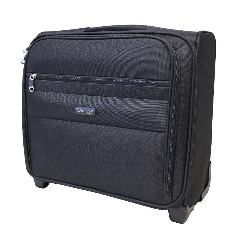 """Чемодан-тележка Cavalet, 45 л, 666-46, черный666-46 blаckКомпактный чемодан-тележка """"Cavalet"""" на двух колесах идеально подходит для поездок и путешествий. Корпус выполнен из плотного полиэстера с отделкой из пластика. Чемодан имеет одно вместительное отделение для хранения одежды и аксессуаров. Отделение закрывается на двойную застежку-молнию и имеет внутри отделения файлы-разделители для бумаг и документов, которые фиксируются хлястиком на липучку. Также в отделении предусмотрены багажные ремни для фиксации. С внешней стороны расположен накладной карман на молнии, содержащий внутри карман для мобильного телефона, три кармашка для карточек и два фиксатора для ручек. Дополнительно предусмотрен небольшой вшитый карман на молнии. Внутренняя поверхность изделия отделана полиэстером.В верхней части чемодана предусмотрена ручка для удобства переноски. На дне - две устойчивые ножки из пластика.Чемодан оснащен телескопической ручкой, которая выдвигается нажатием на кнопку. На тыльной стороне чемодана расположен вкладыш для багажной бирки.Стильный и удобный чемодан-тележка Cavalet вместит все необходимые вещи и станет незаменимым аксессуаром во время поездок.Характеристики:Размер чемодана: 41 см х 17 см х 35 см. Максимальная нагрузка: 5 кг. Вес чемодана: 3,6 кг."""