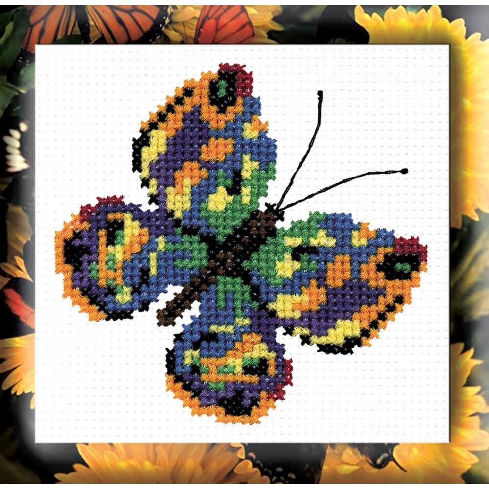 """Набор для вышивания крестом """"Бабочка зеленая"""", 11 х 11 см 126, РС-Студия"""