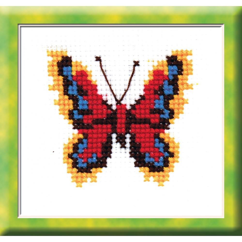 """Набор для вышивания крестом """"Бабочка красно-желтая"""", 7 см х 7,5 см. 530, РС-Студия"""