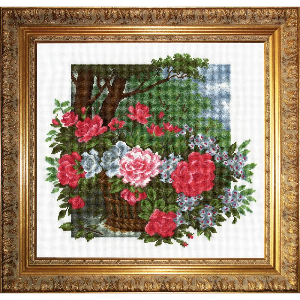 """Набор для вышивания крестом """"Розы в корзине"""", 34 х 36 см 697312, РС-Студия"""