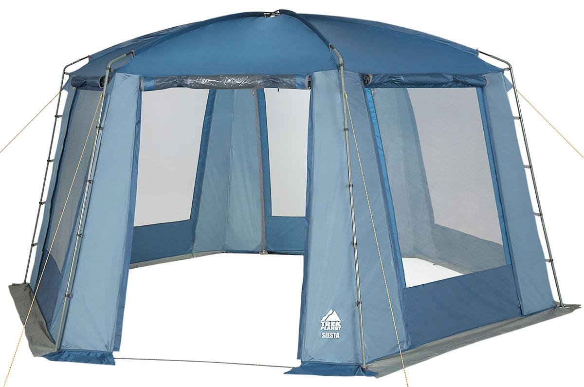 Шатер-тент TREK PLANET SIESTA, шестиугольной формы, 460 см х 400 см х 210 см, цвет: синий, голубой70258Универсальный шатер шестиугольной формы TREK PLANET Siesta с огромным внутренним помещением отлично подойдет как для дачи, так и для кемпинга. При открытых по всему периметру больших окнах - очень хорошо проветривается, а москитная сетка защищает от назойливых комаров и мух. При полностью закрытых шторками окнах - дает 100% защиту от дождя и непогоды.Особенности шатра:- легко собирается и разбирается, благодаря пластиковым соединительным разъемам; - устойчив на ветру;- тент шатра из полиэстера, с пропиткой PU водостойкостью 2000 мм, надежно защитит от дождя и ветра, все швы проклеены;- каркас: боковые стойки из стали, потолочные дуги из прочного стеклопластика;- большие москитные сетки во всю ширину окон и дверей;- защитные шторы на каждом окне и двери;- два входа в шатер;- защитным полог по всему периметру защищает от ветра, дождя и насекомых;- возможность подвески фонаря в палатке.- диаметр стальных боковых стоек палатки: 19 мм.Палатка упакована в сумку-чехол с ручками, застегивающуюся на застежку-молнию.