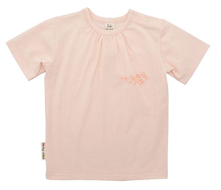Футболка для девочки Lucky Child, цвет: персиковый. 12-26.1. Размер 104/11012-26.2Детская футболка для девочки Lucky Child послужит идеальным дополнением к гардеробу вашей малышки, обеспечивая ей наибольший комфорт. Изготовленная из натурального хлопка, она необычайно мягкая и легкая, не раздражает нежную кожу ребенка и хорошо вентилируется, а эластичные швы приятны телу малышки и не препятствуют ее движениям. Футболка с короткими рукавами и круглым врезом горловины имеет кнопки по плечу, которые позволяют без труда переодеть ребенка. На груди с левой стороны она дополнена небольшим принтом в виде логотипа бренда. Футболка полностью соответствует особенностям жизни ребенка в ранний период, не стесняя и не ограничивая его в движениях!