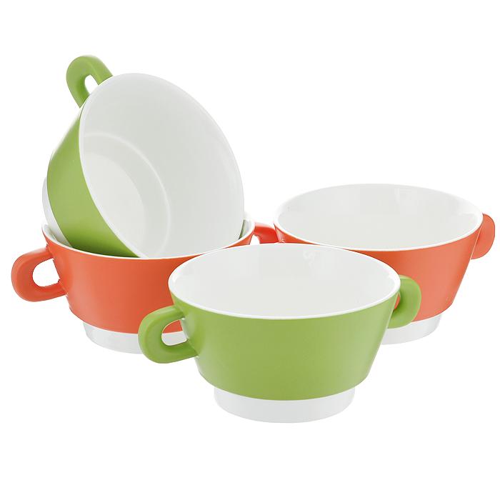 Набор чашек для бульона BartonSteel, цвет: зеленый, оранжевый, 450 мл, 4 шт02100BS/NEWХарактеристики: Материал: фарфор. Цвет: зеленый, оранжевый. Комплектация: 4 шт. Объем: 450 мл. Диаметр чашки: 12,5 см. Высота стенки чашки: 7 см.