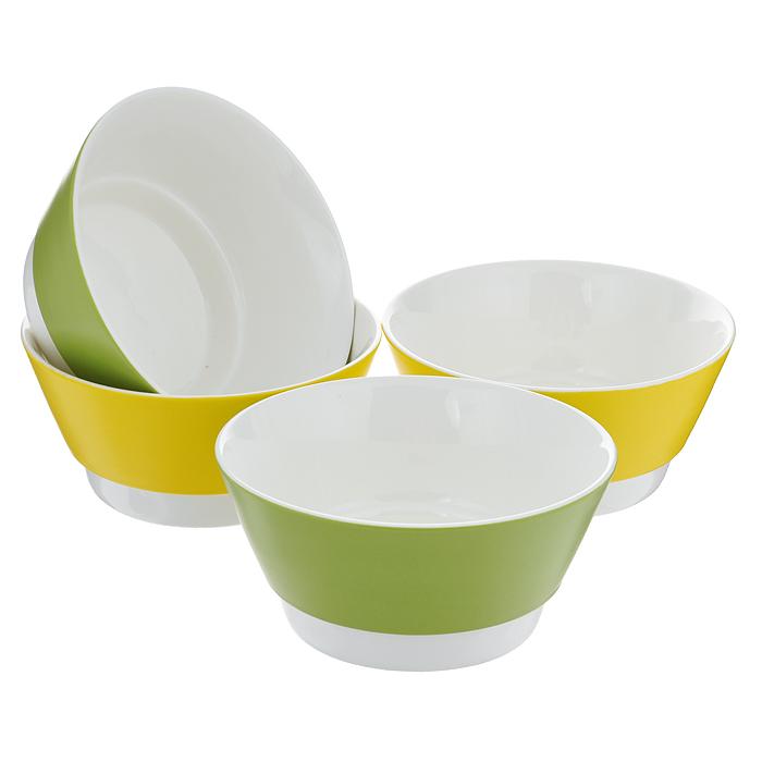 Набор салатников BartonSteel, цвет: зеленый, желтый, 700 мл, 4 шт02101BS/NEWНабор BartonSteel состоит из четырех салатников с высокими краями, изготовленных из высококачественного фарфора. Внешние стенки изделий покрыты цветной жаропрочной глазурью, выдерживающей 131°С. Салатники прекрасно подойдут для сервировки различных блюд.Функциональный и оригинальный, набор салатников BartonSteel великолепно украсит праздничный стол.Салатники можно использовать в духовке, микроволновой печи и морозильной камере. Можно мыть в посудомоечной машине. Характеристики: Материал: фарфор. Цвет: зеленый, желтый. Комплектация: 4 шт. Объем: 700 мл. Диаметр салатника: 15 см. Высота стенки салатника: 7 см.